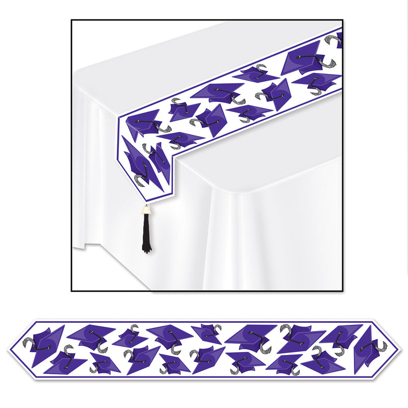 Printed Grad Cap Table Runner, purple by Beistle - Graduation Theme Decorations