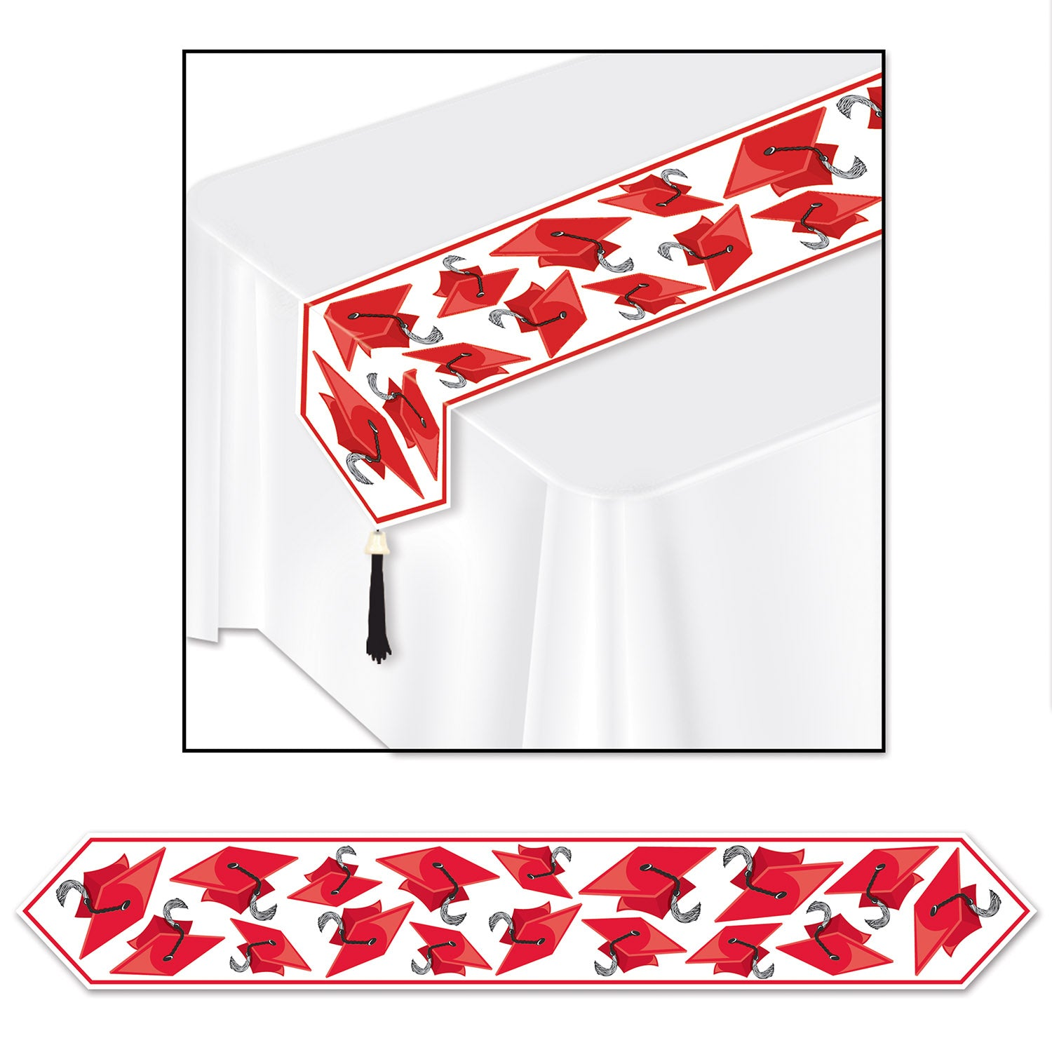 Printed Grad Cap Table Runner, red by Beistle - Graduation Theme Decorations