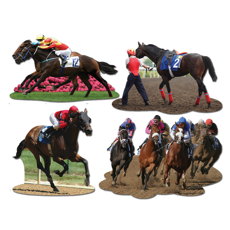 Horse Racing Cutouts (4/Pkg) by Beistle - Derby Day Theme Decorations