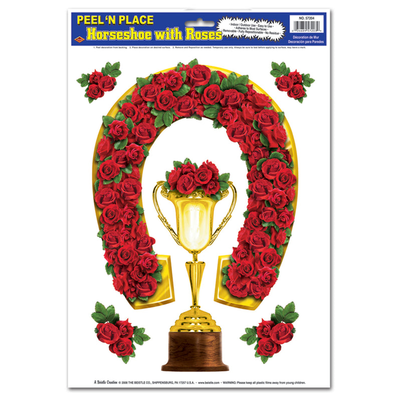 Horseshoe w/Roses Peel 'N Place (6/Sheet) by Beistle - Derby Day Theme Decorations