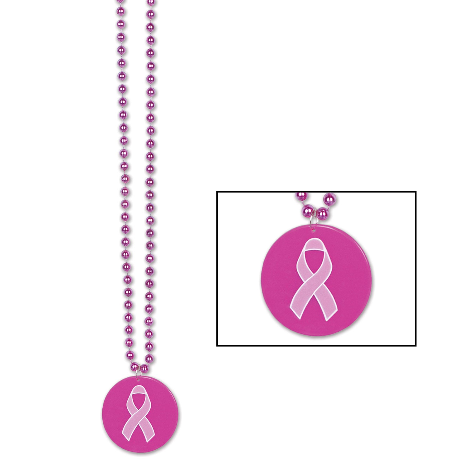 Beads w/Printed Pink Ribbon Medallion by Beistle - Pink Ribbon Theme Decorations