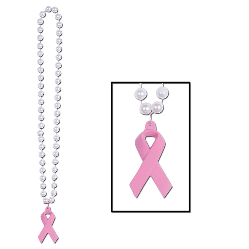 Beads w/Pink Ribbon Medallion by Beistle - Pink Ribbon Theme Decorations