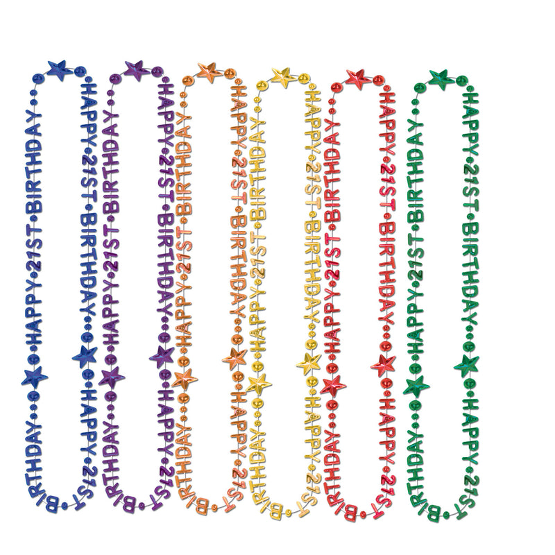 21st Birthday Beads-Of-Expression by Beistle - 21st Birthday Theme Decorations