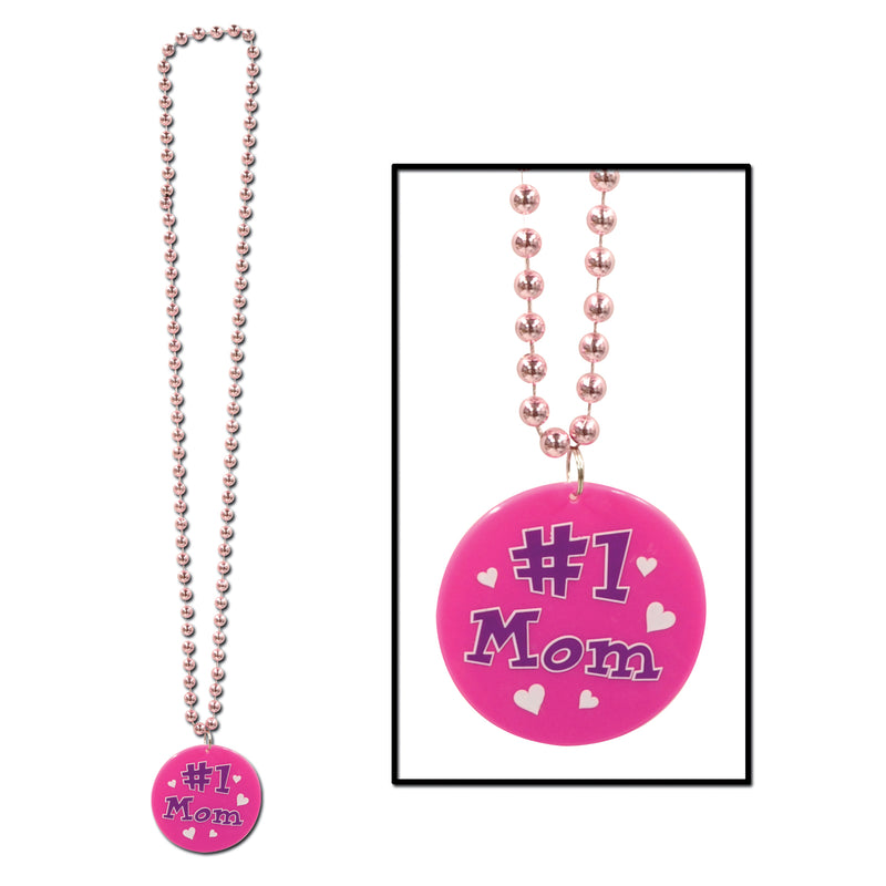 Beads w/Printed #1 Mom Medallion by Beistle - Mother's Day Theme Decorations