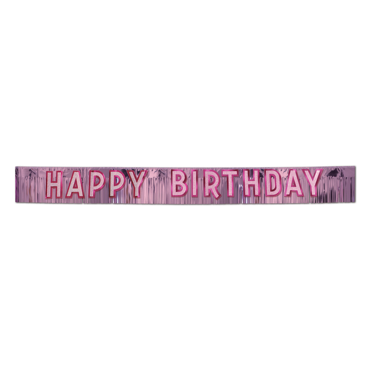 Metallic Happy Birthday Banner, pink w/silver by Beistle - Birthday Party Supplies Decorations