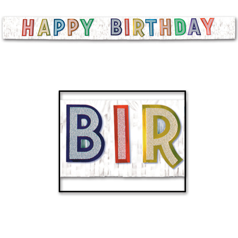 Metallic Happy Birthday Banner, white w/silver by Beistle - Birthday Party Supplies Decorations