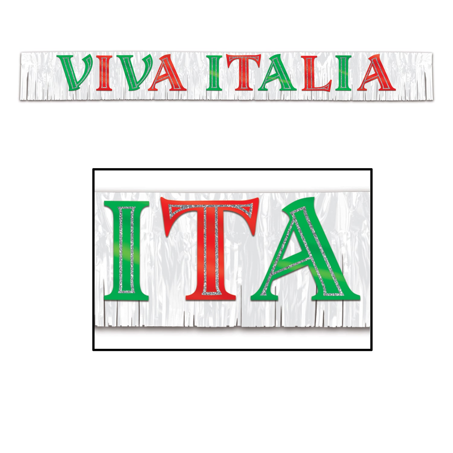 Metallic Viva Italia Banner by Beistle - Italian Theme Decorations