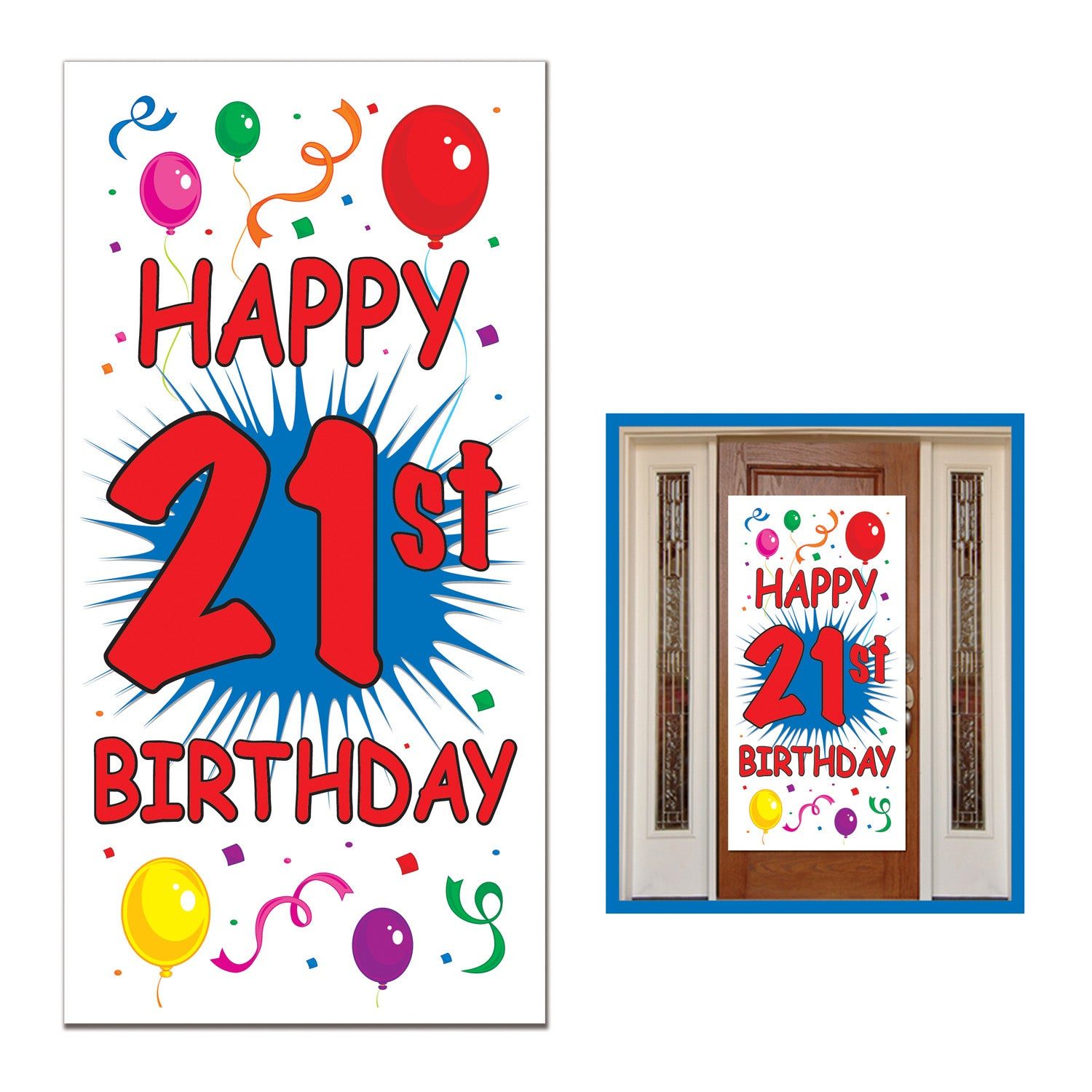 21st Birthday Door Cover by Beistle - 21st Birthday Theme Decorations
