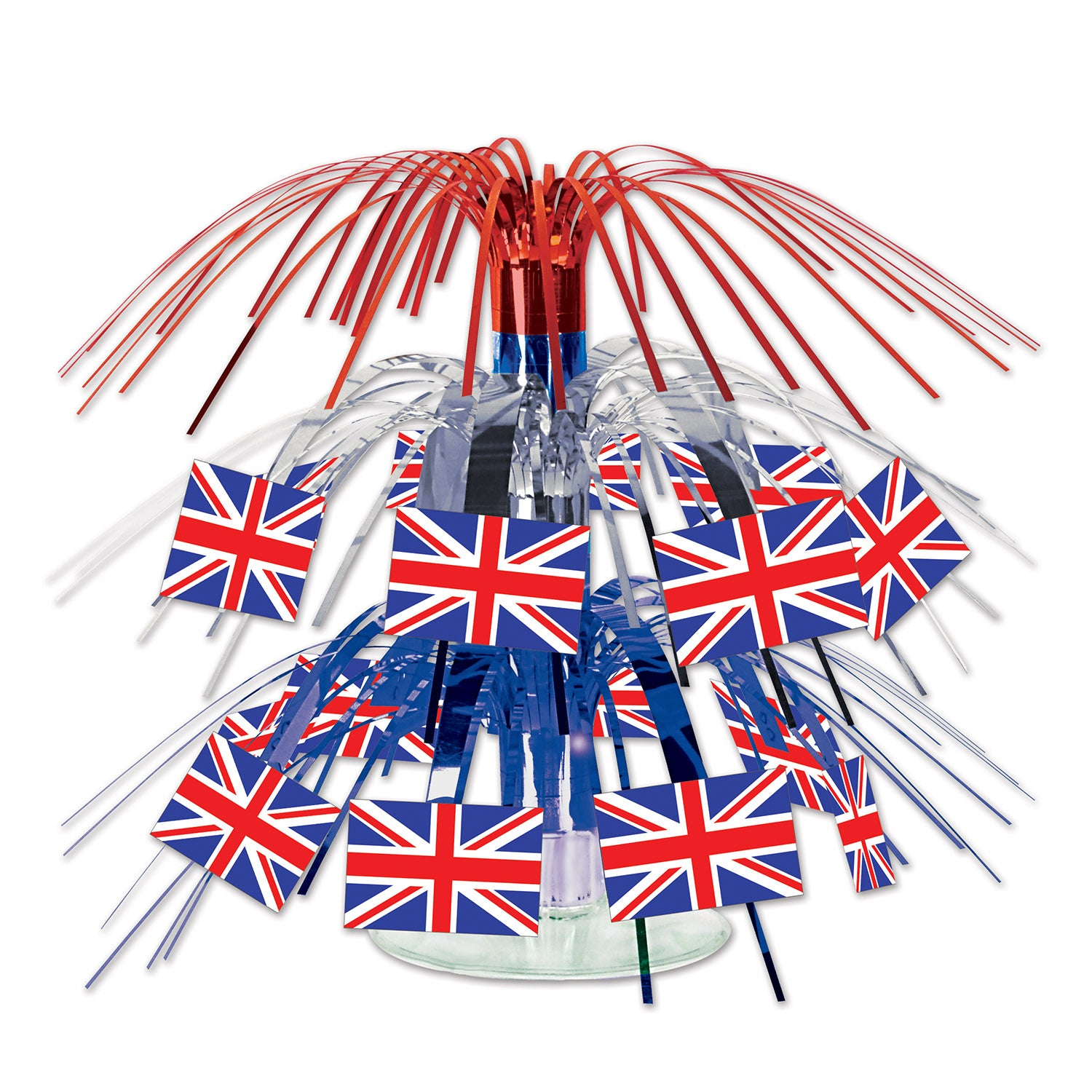 British Flag Mini Cascade Centerpiece by Beistle - British Theme Decorations