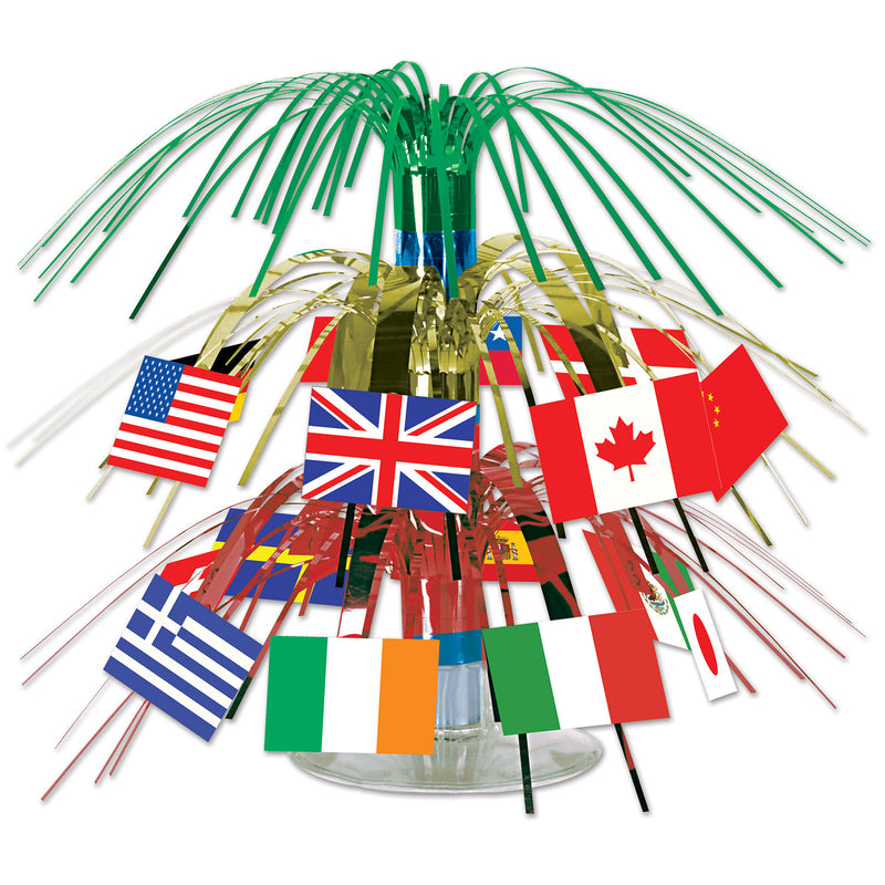 Int'l Flag Mini Cascade Centerpiece by Beistle - International Theme Decorations
