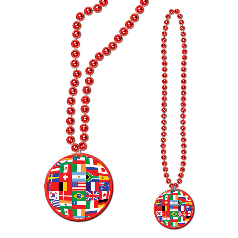 Beads w/International Flag Medallion by Beistle - International Theme Decorations