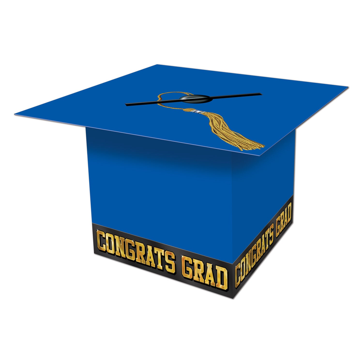 Grad Cap Card Box, blue by Beistle - Graduation Theme Decorations