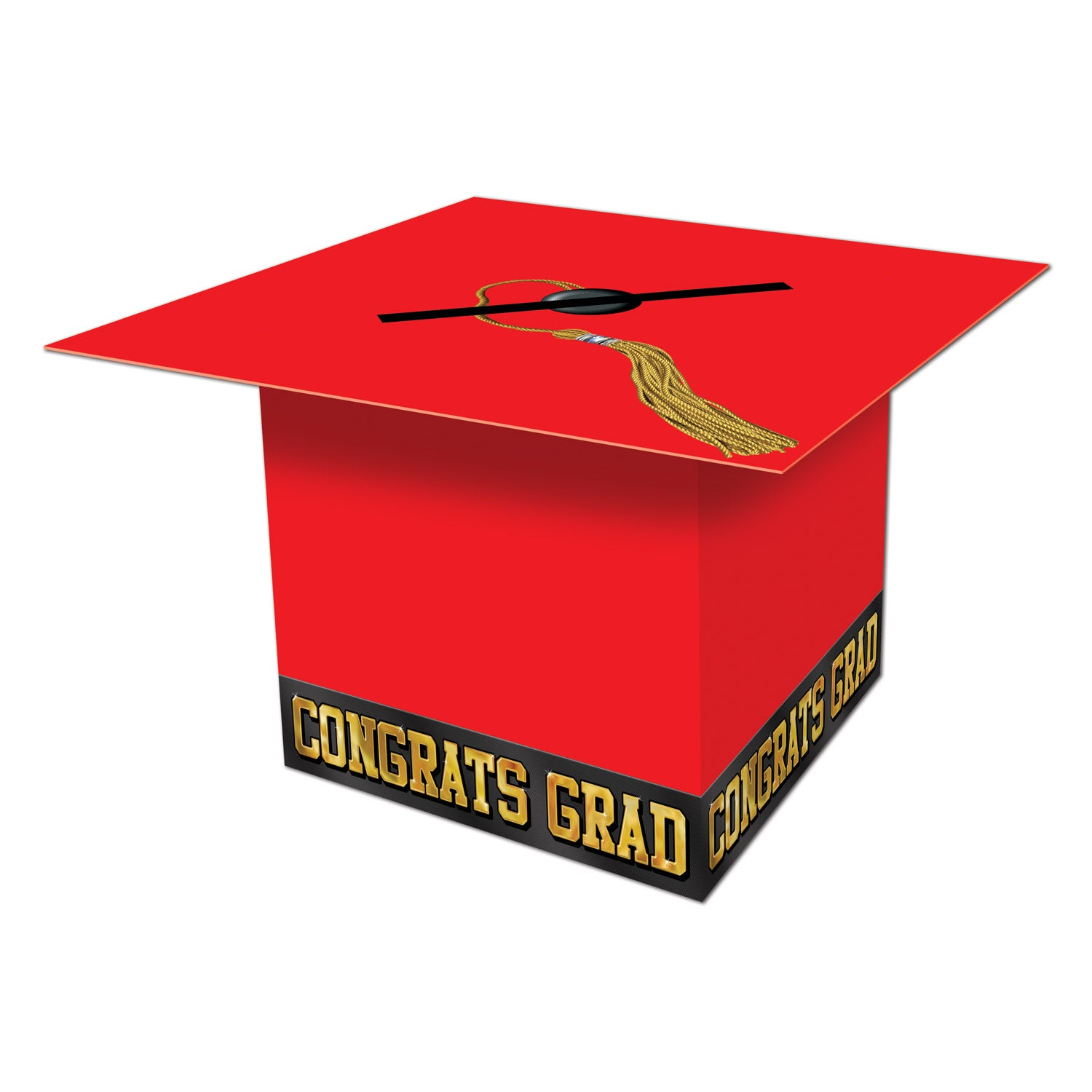 Grad Cap Card Box, red by Beistle - Graduation Theme Decorations