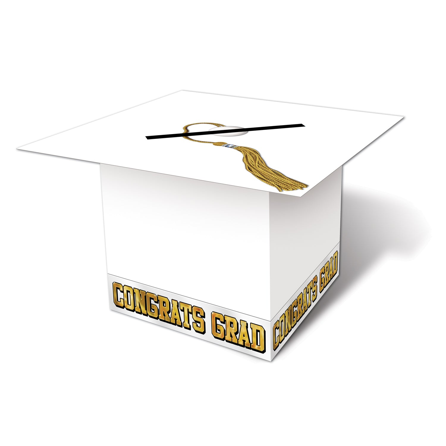 Grad Cap Card Box, white by Beistle - Graduation Theme Decorations