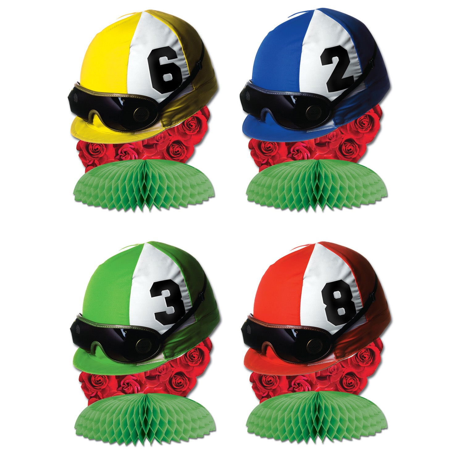 Jockey Helmet Mini Centerpieces (4/Pkg) by Beistle - Derby Day Theme Decorations