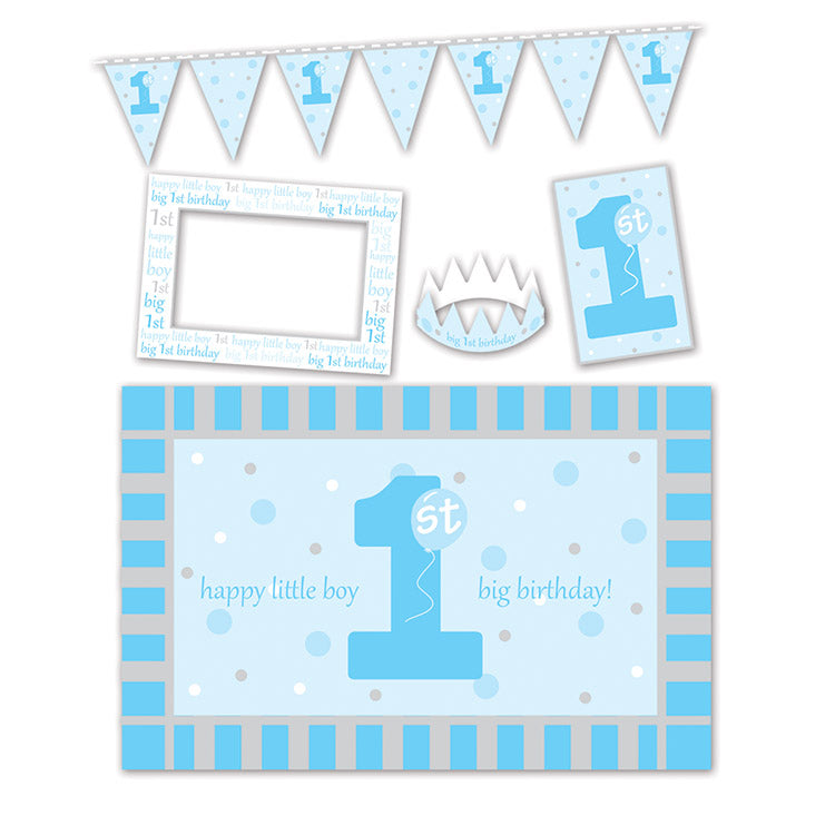1st Birthday High Chair Decorating Kit (5/Pkg), blue by Beistle - 1st Birthday Party Decorations