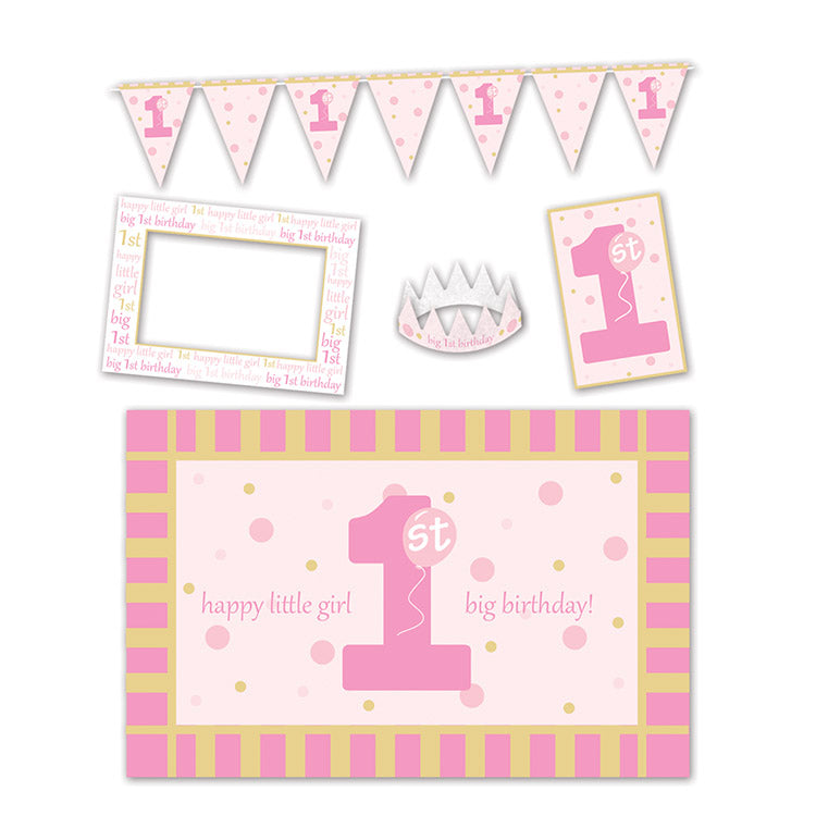 1st Birthday High Chair Decorating Kit (5/Pkg), pink by Beistle - 1st Birthday Party Decorations