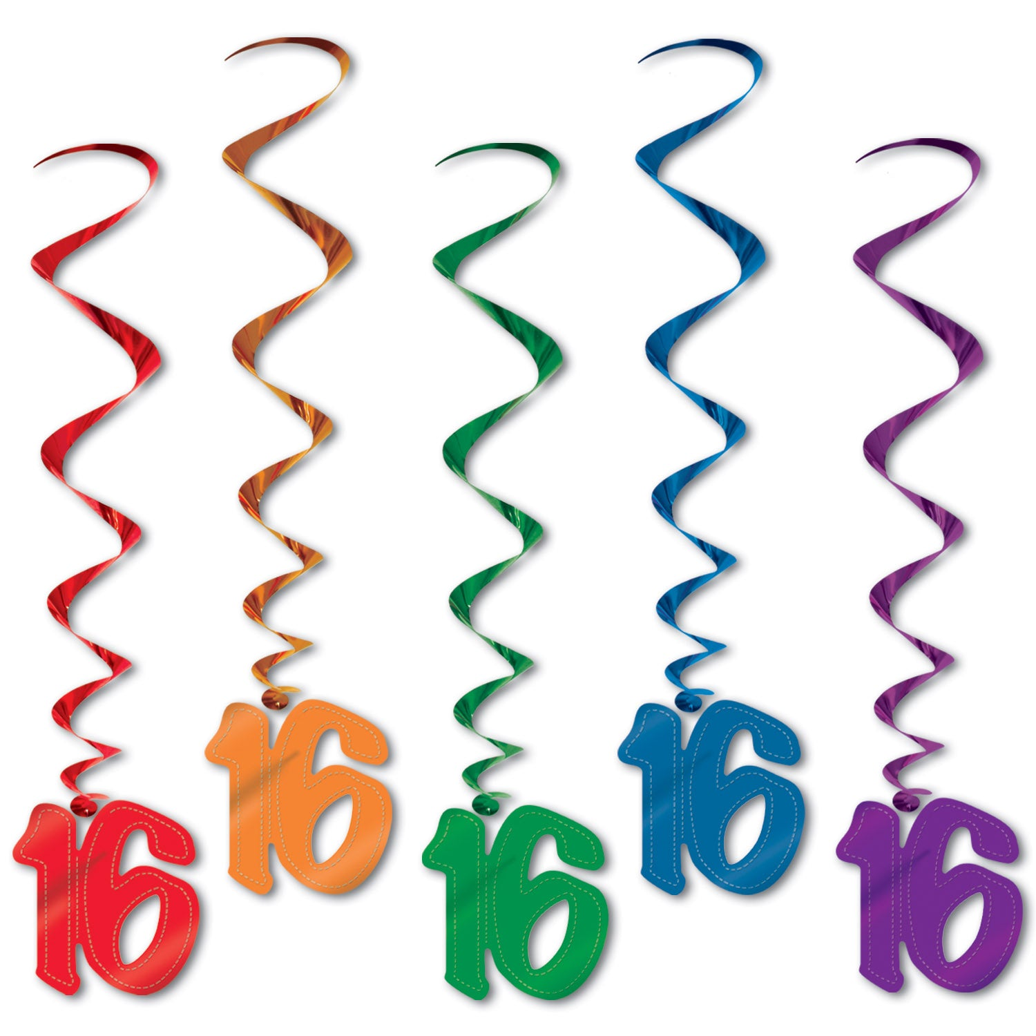16 Whirls (5/Pkg) Assorted Colors by Beistle - Sweet 16 Birthday Decorations