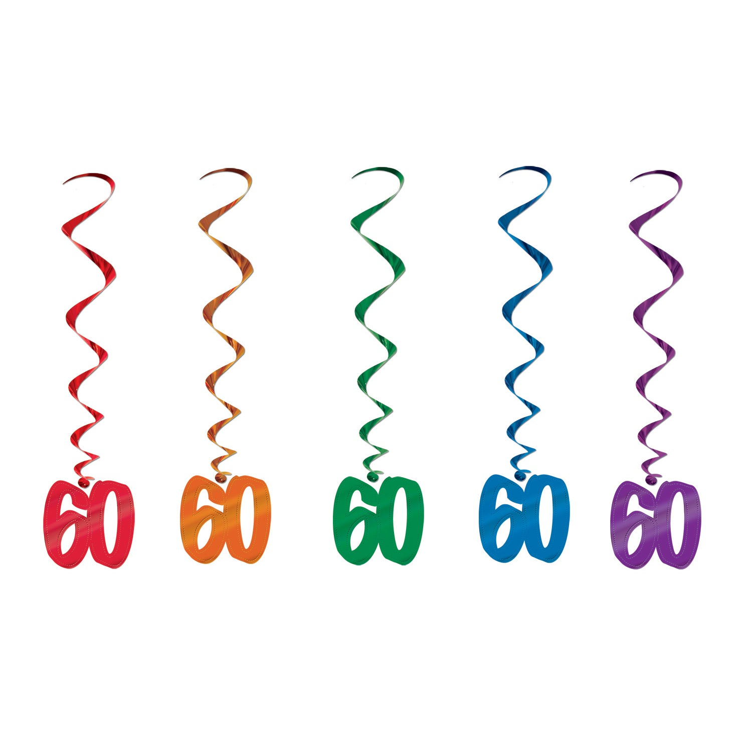 60 Whirls (5/Pkg) by Beistle - 60th Birthday Party Decorations