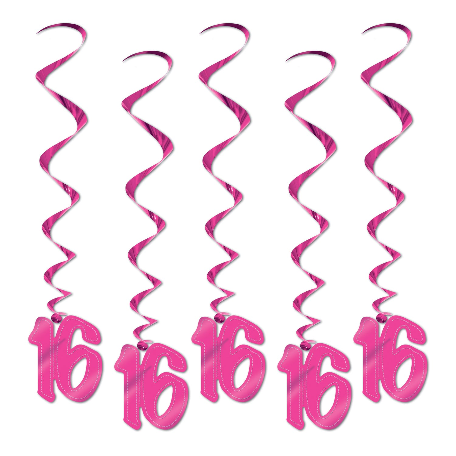 16 Whirls (5/Pkg) Pink by Beistle - Sweet 16 Birthday Decorations