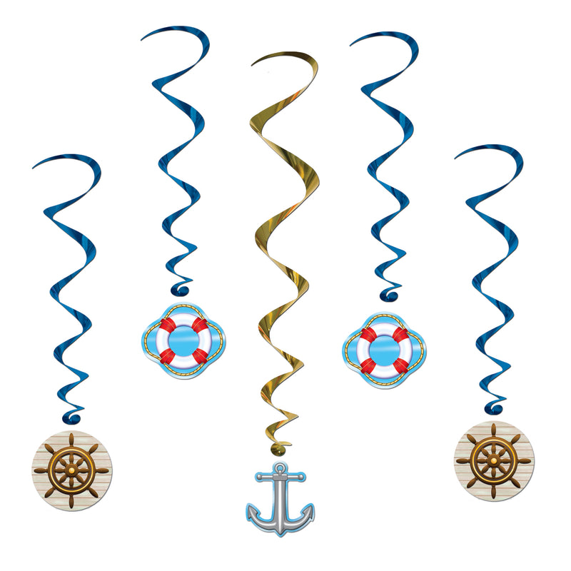 Cruise Ship Whirls (5/Pkg) by Beistle - Nautical Theme Decorations