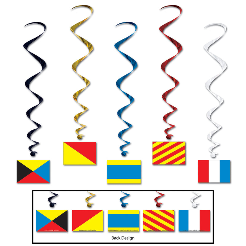 Nautical Flag Whirls (5/Pkg) by Beistle - Nautical Theme Decorations
