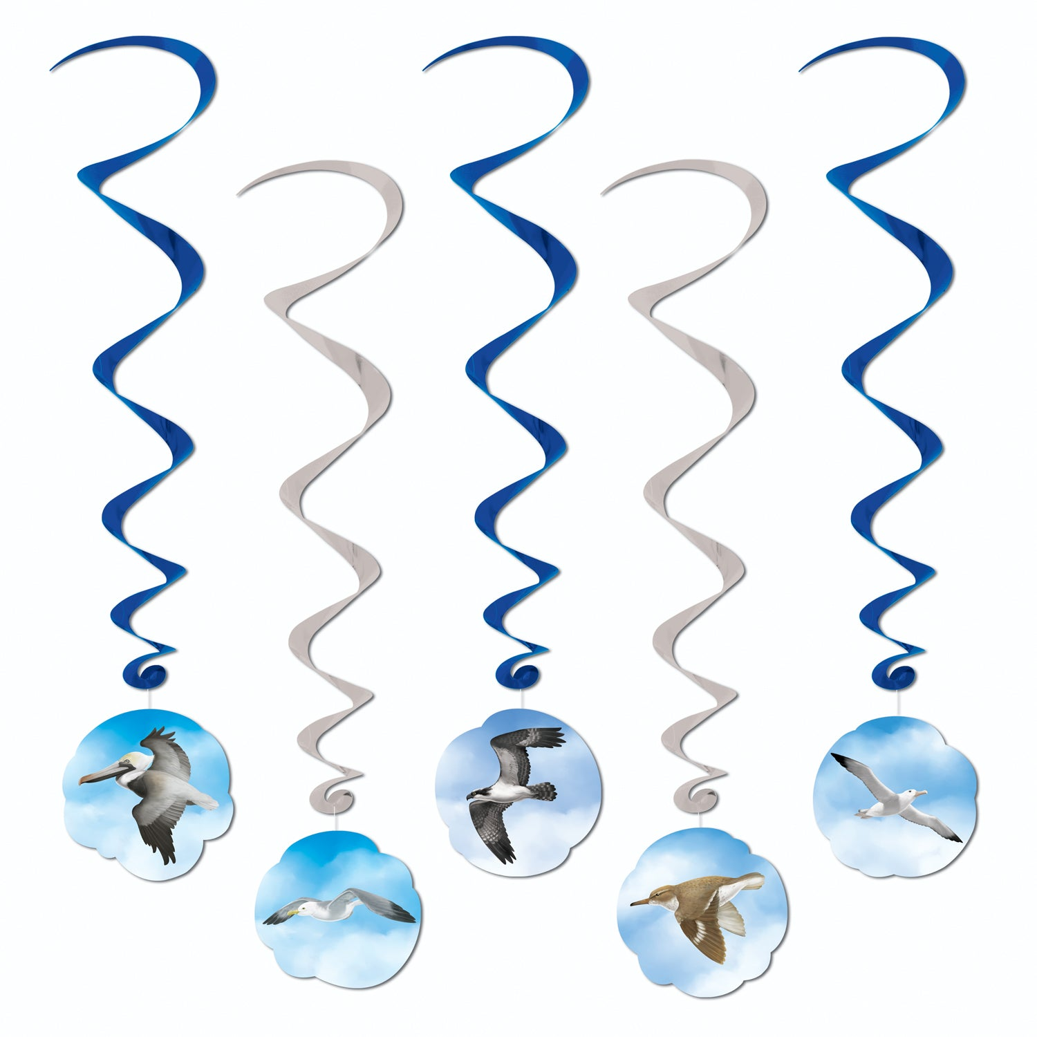 Ocean Bird Whirls (5/Pkg) by Beistle - Nautical Theme Decorations
