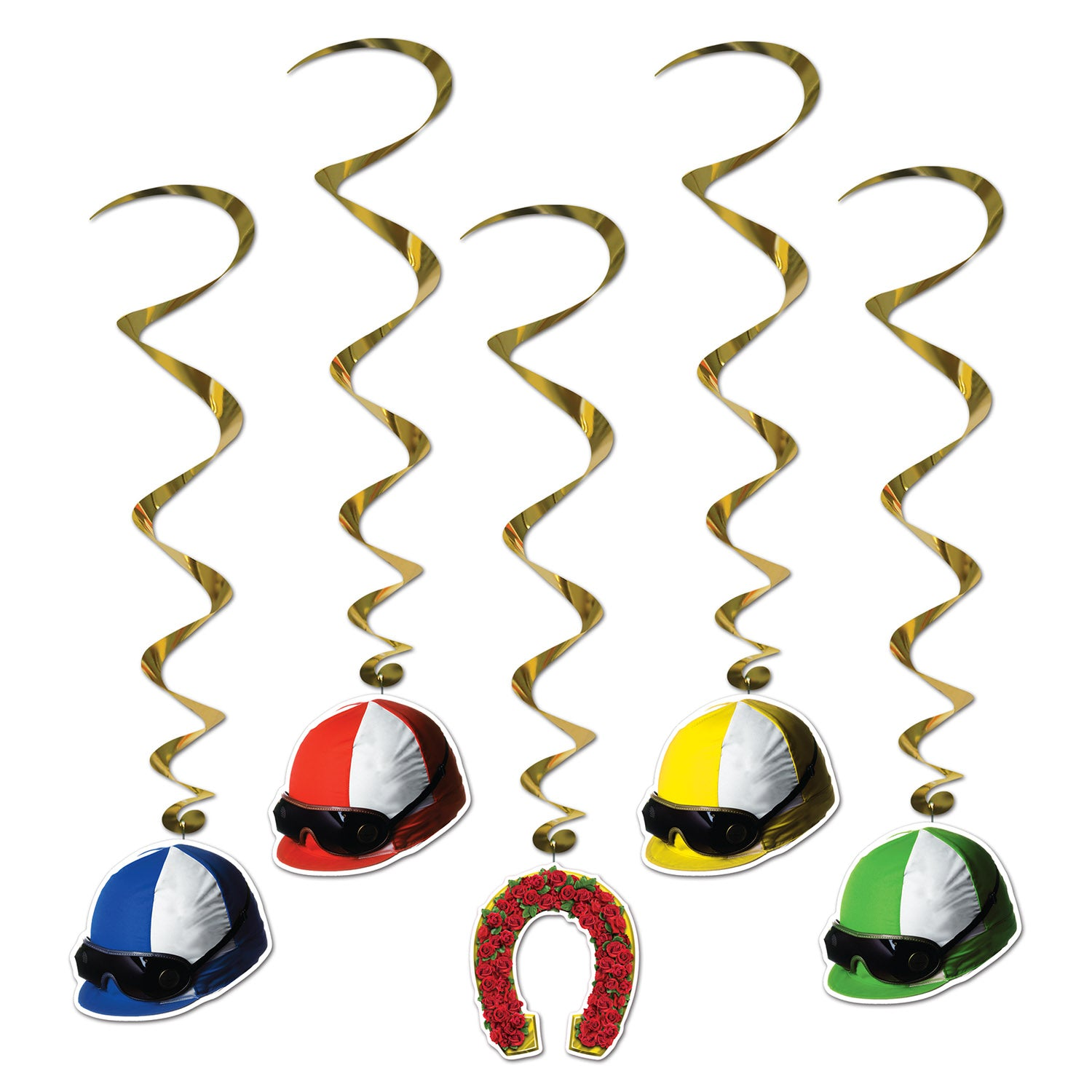 Jockey Helmet Whirls (5/Pkg) by Beistle - Derby Day Theme Decorations