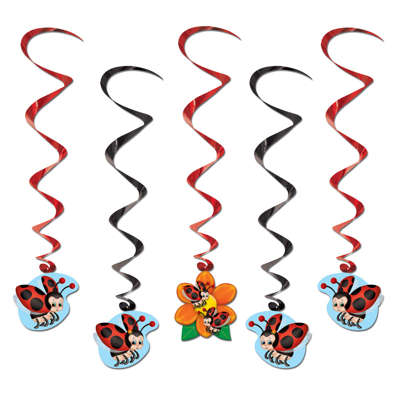 Ladybug Whirls (5/Pkg) by Beistle - Spring/Summer Theme Decorations