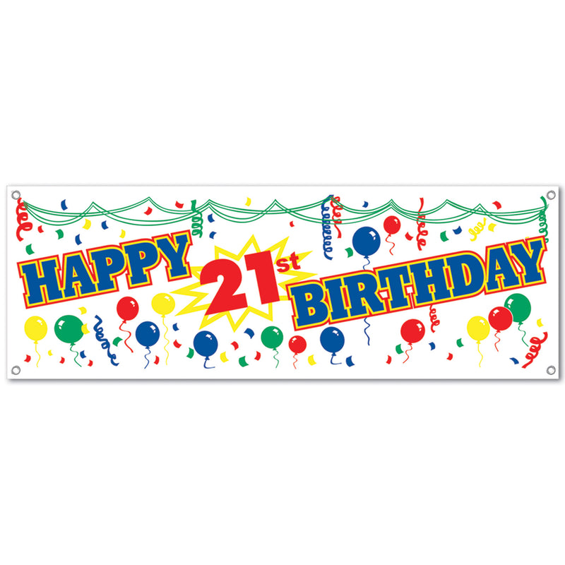 Happy 21st Birthday Sign Banner by Beistle - 21st Birthday Theme Decorations