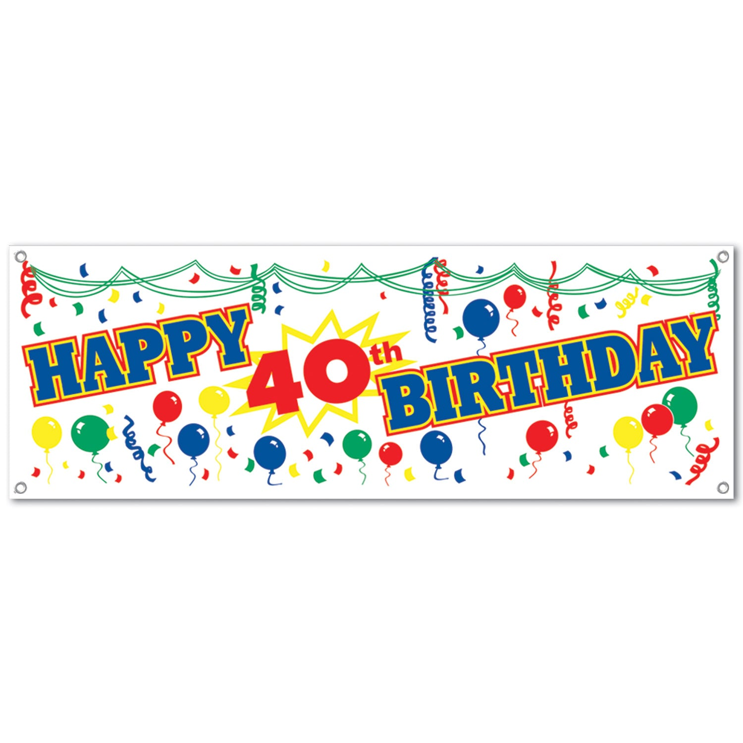 Happy 40th Birthday Sign Banner by Beistle - 40th Birthday Party Decorations