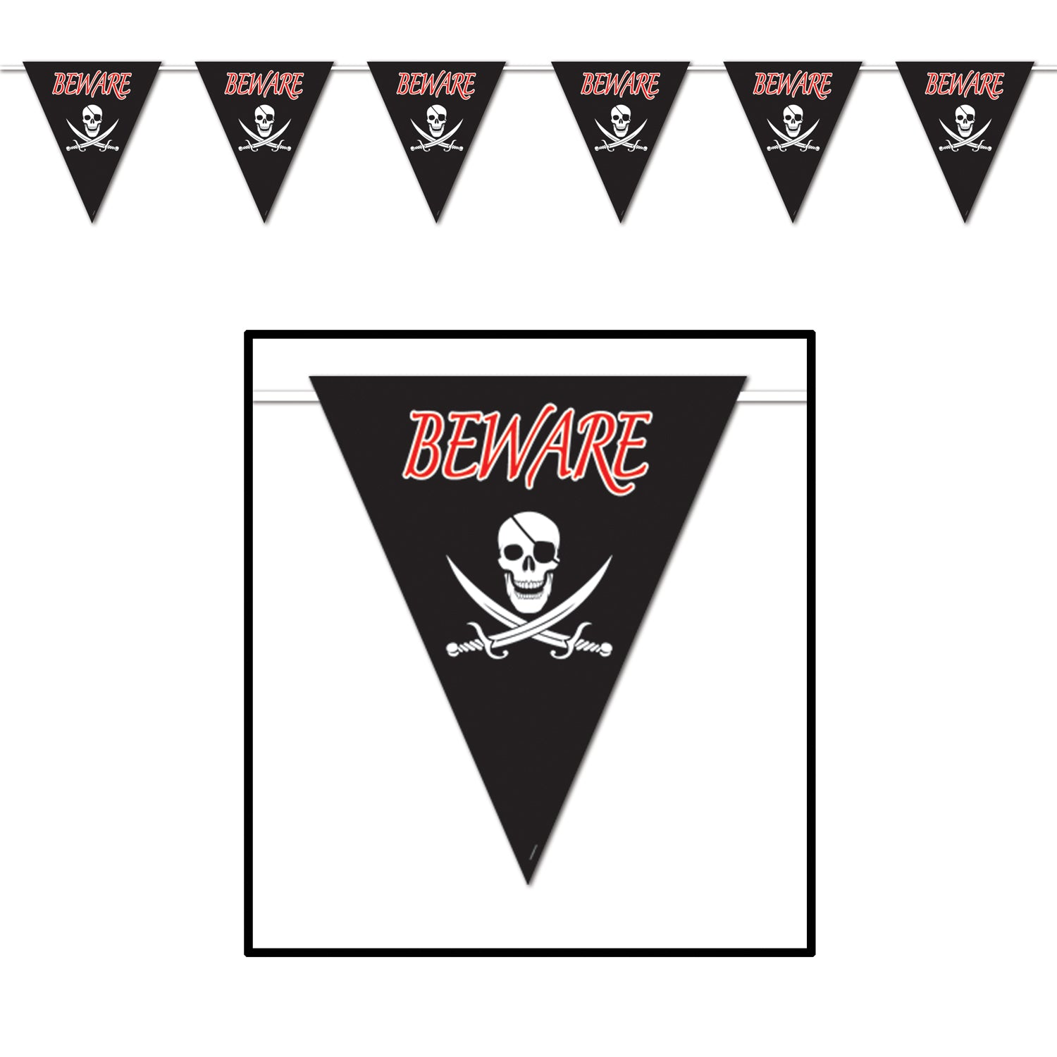 Beware Of Pirates Giant Pennant Banner by Beistle - Pirate Theme Decorations