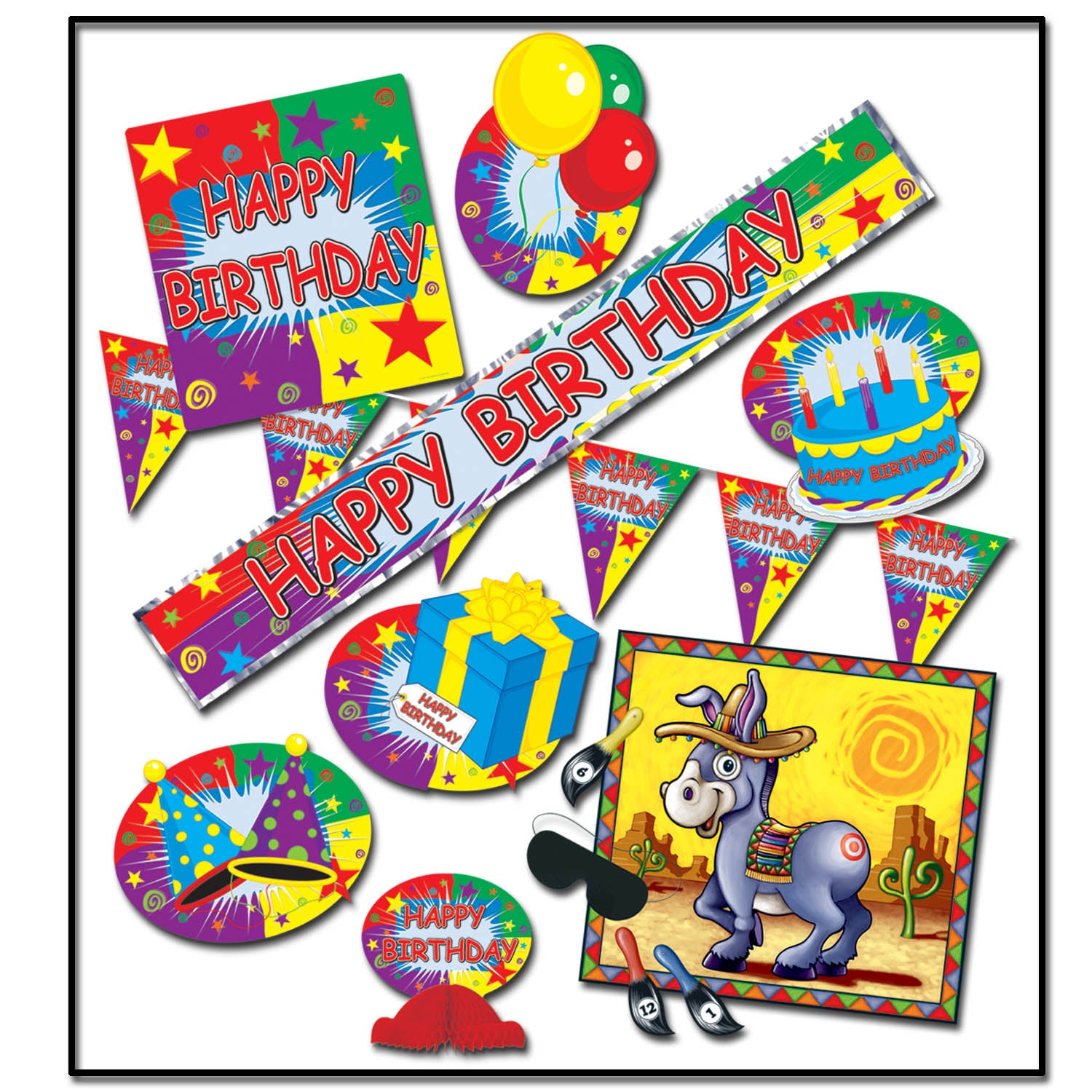 Happy Birthday Party Kit (9/Pkg) by Beistle - Birthday Party Supplies Decorations