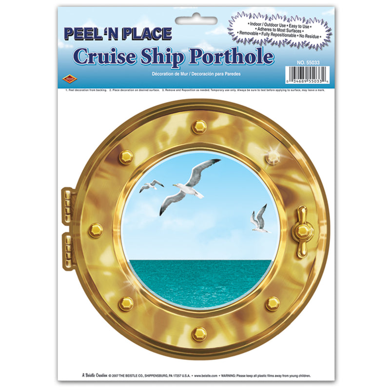 Cruise Ship Porthole Peel 'N Place (1 Sheet) by Beistle - Nautical Theme Decorations