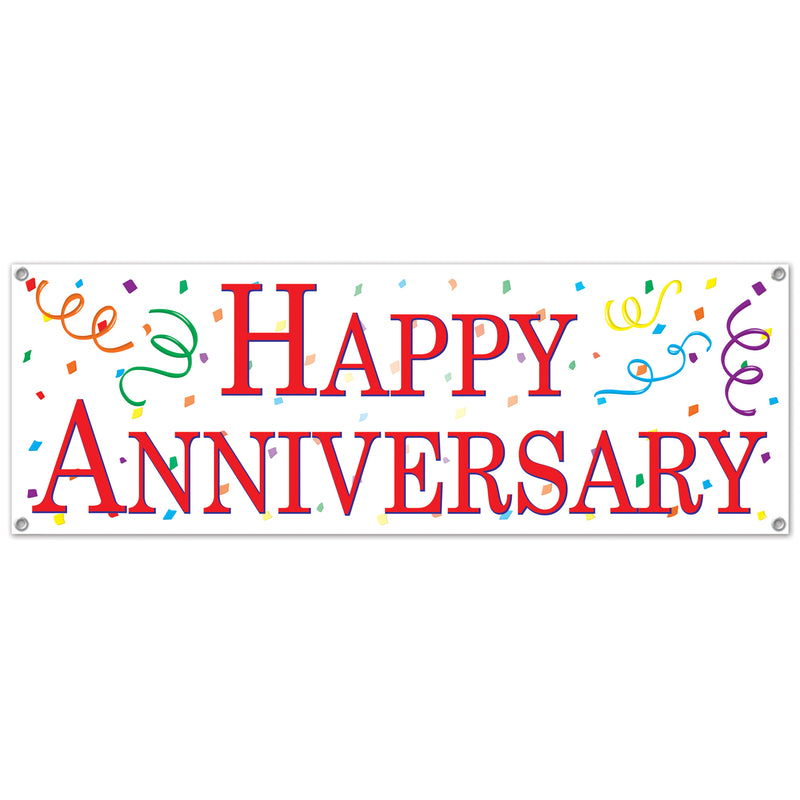 Happy Anniversary Sign Banner by Beistle - Anniversary Theme Decorations