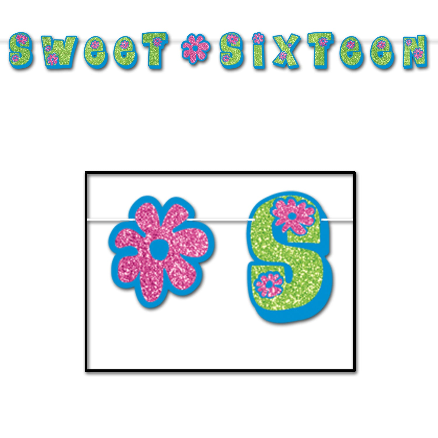 Glittered Sweet Sixteen Streamer, blue, lt green, pink by Beistle - Sweet 16 Birthday Decorations