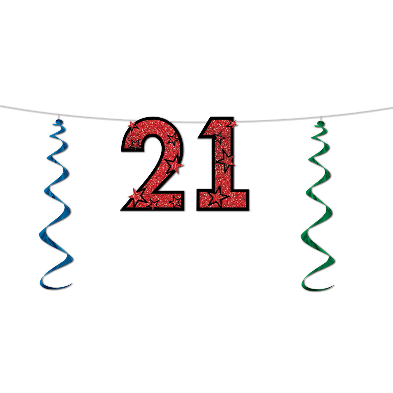 21 Glittered Streamer by Beistle - 21st Birthday Theme Decorations