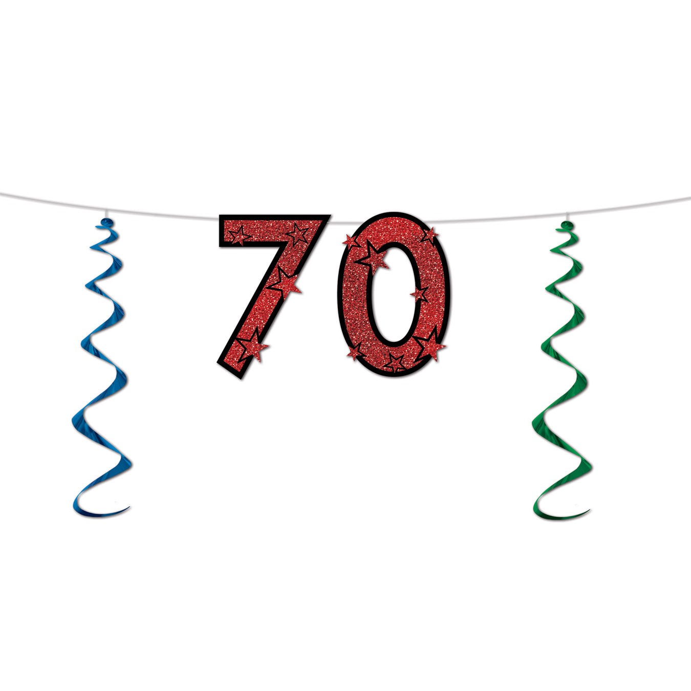 70 Glittered Streamer by Beistle - 70th Birthday Party Decorations