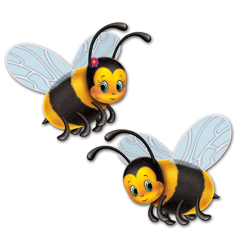 Bumblebee Cutouts (2/Pkg) by Beistle - Spring/Summer Theme Decorations