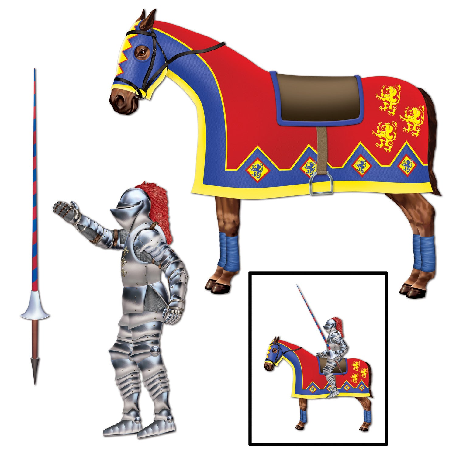 Jointed Jouster (3/Pkg) by Beistle - Medieval Theme Decorations