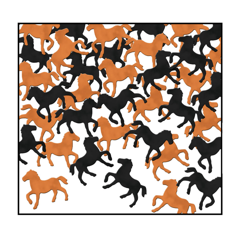 Confetti Horses (1 Oz/Pkg) black & copper by Beistle - Derby Day Theme Decorations