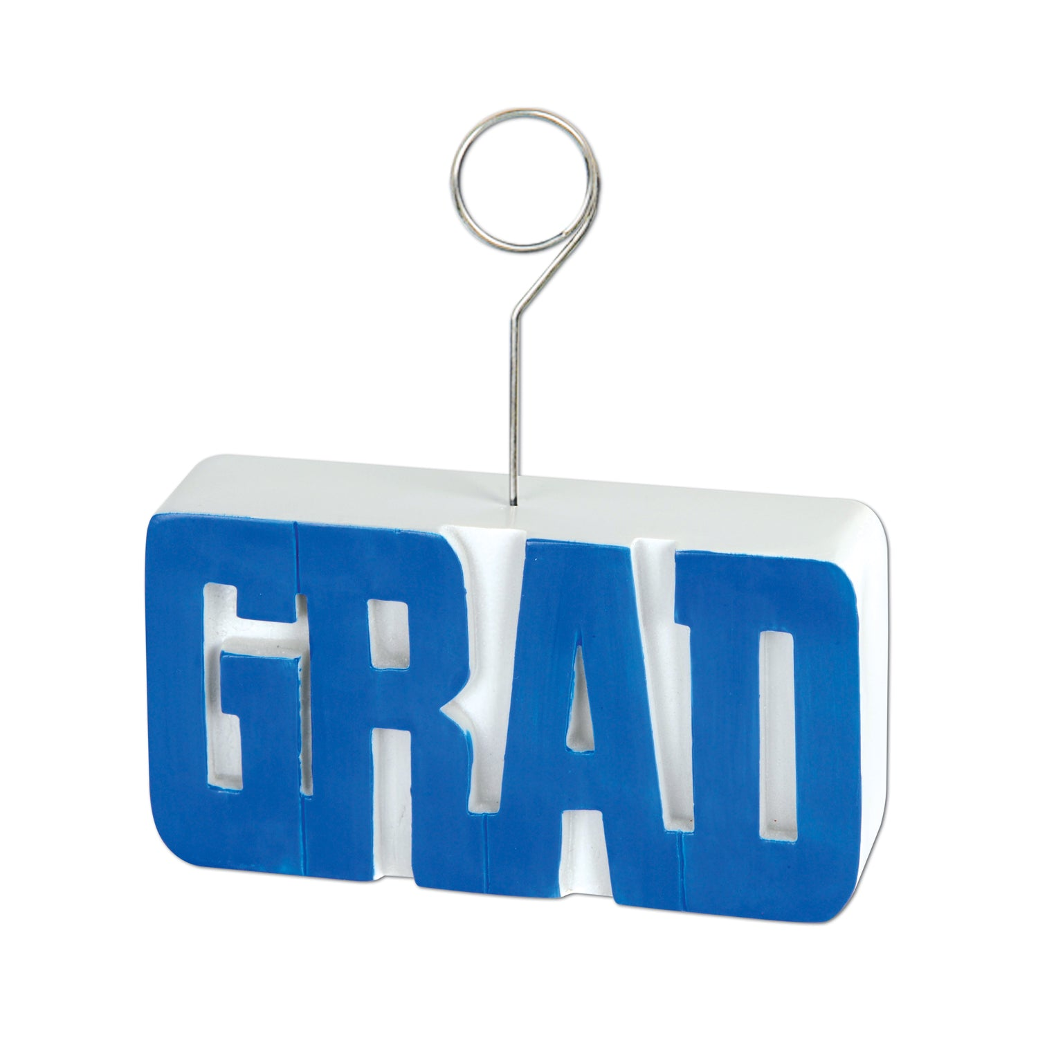 Grad Photo/Balloon Holder, blue by Beistle - Graduation Theme Decorations