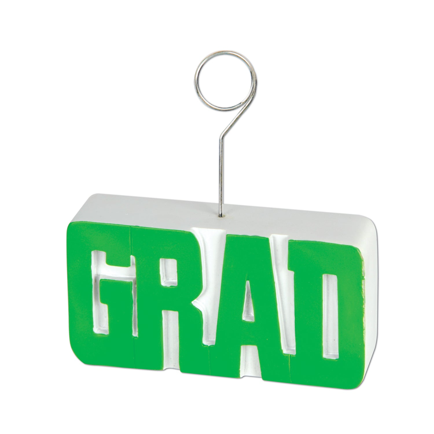 Grad Photo/Balloon Holder, green by Beistle - Graduation Theme Decorations