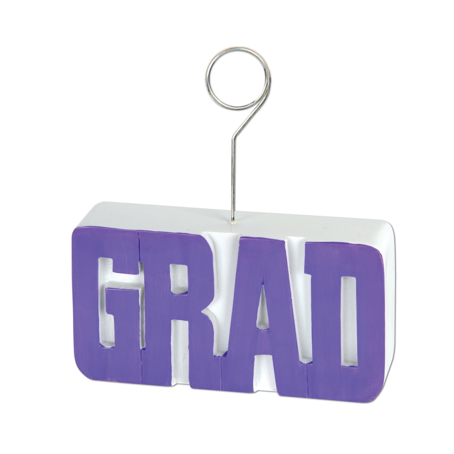 Grad Photo/Balloon Holder, purple by Beistle - Graduation Theme Decorations