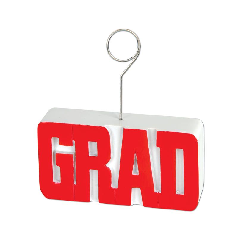 Grad Photo/Balloon Holder, red by Beistle - Graduation Theme Decorations