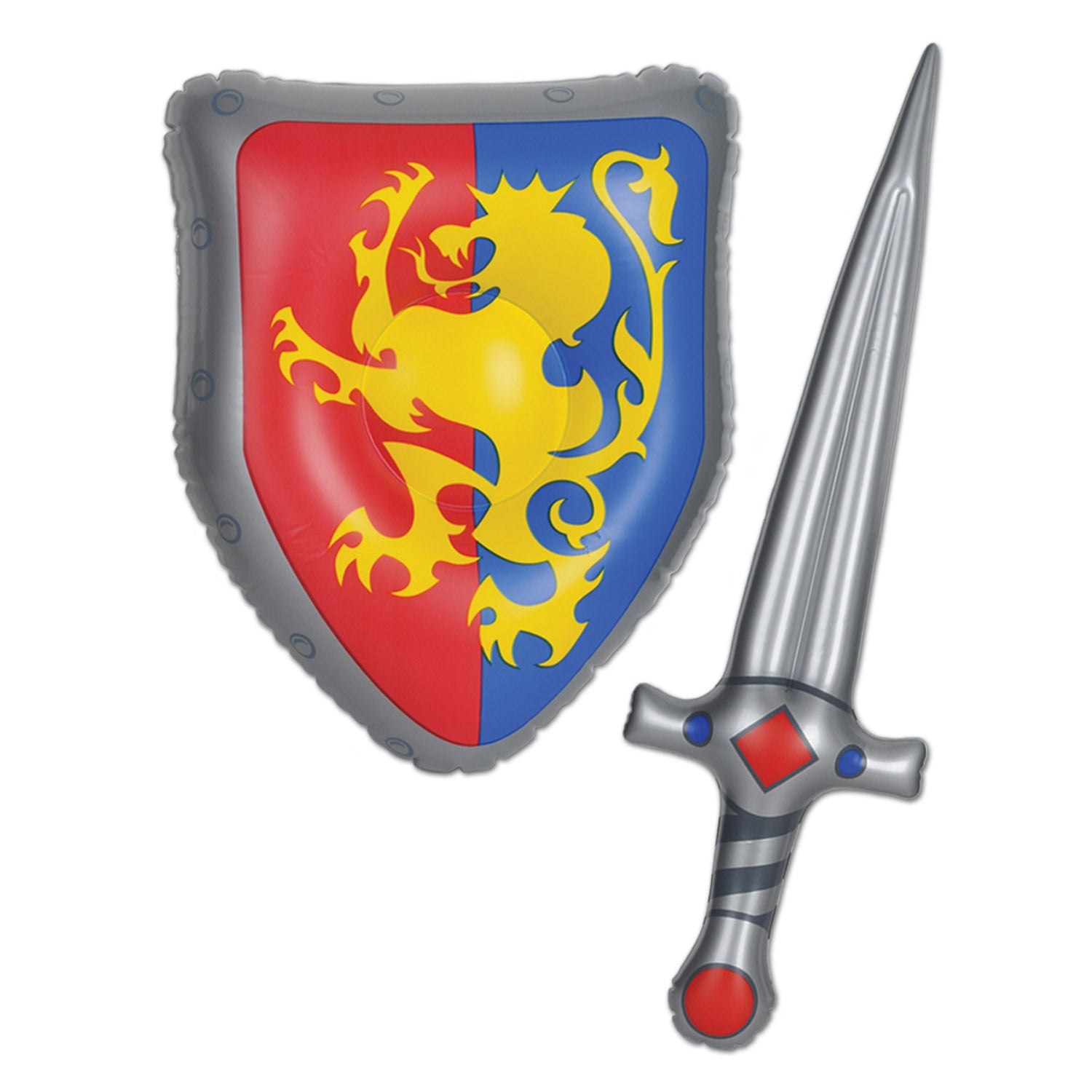 Inflatable Sword & Shield Set by Beistle - Medieval Theme Decorations
