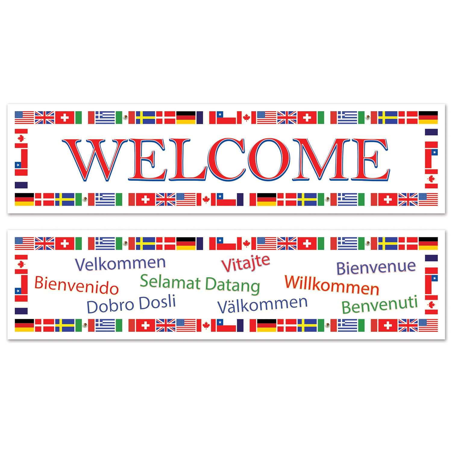 International Welcome Banners (2/Pkg) by Beistle - International Theme Decorations