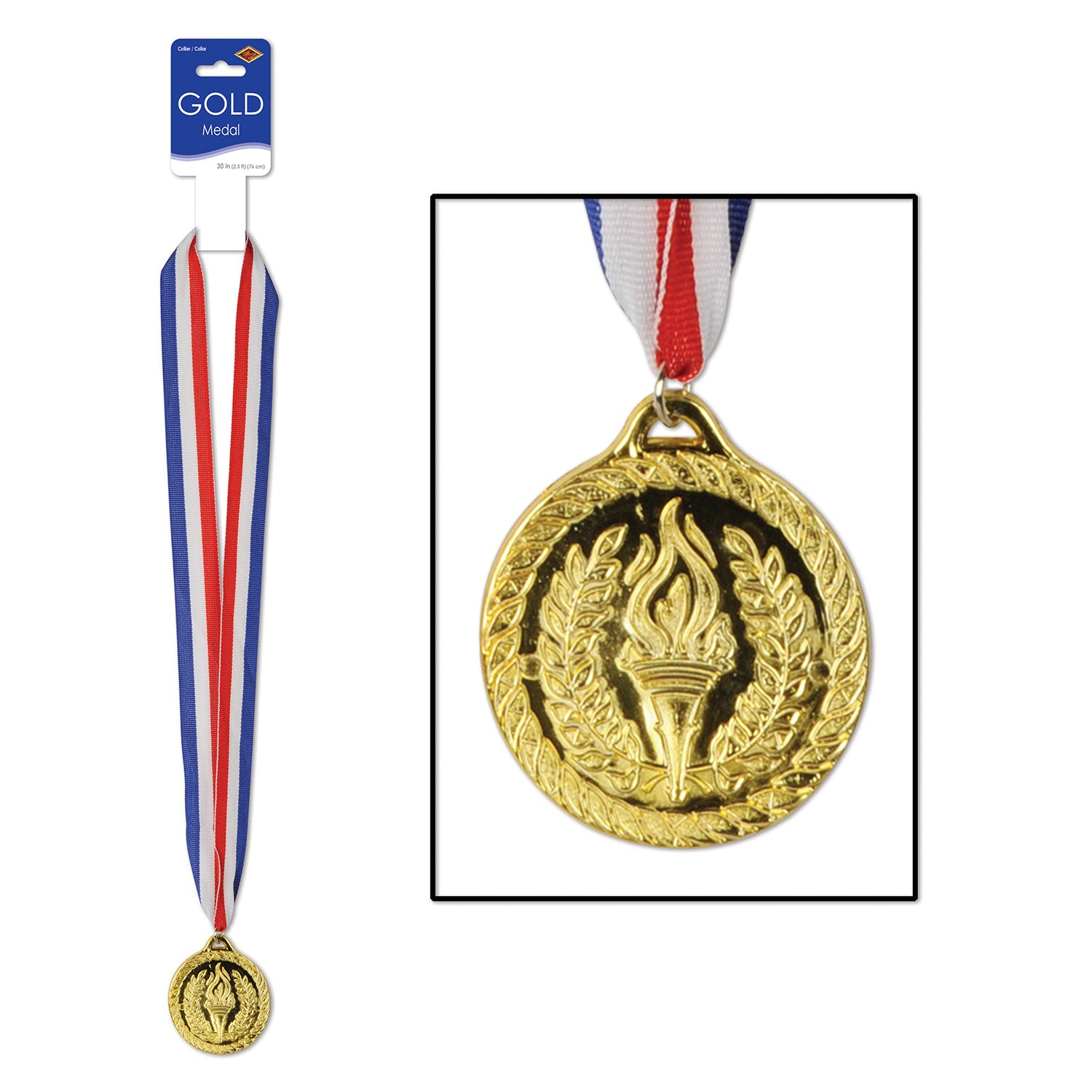 Gold Medal w/Ribbon by Beistle - Sports Theme Decorations