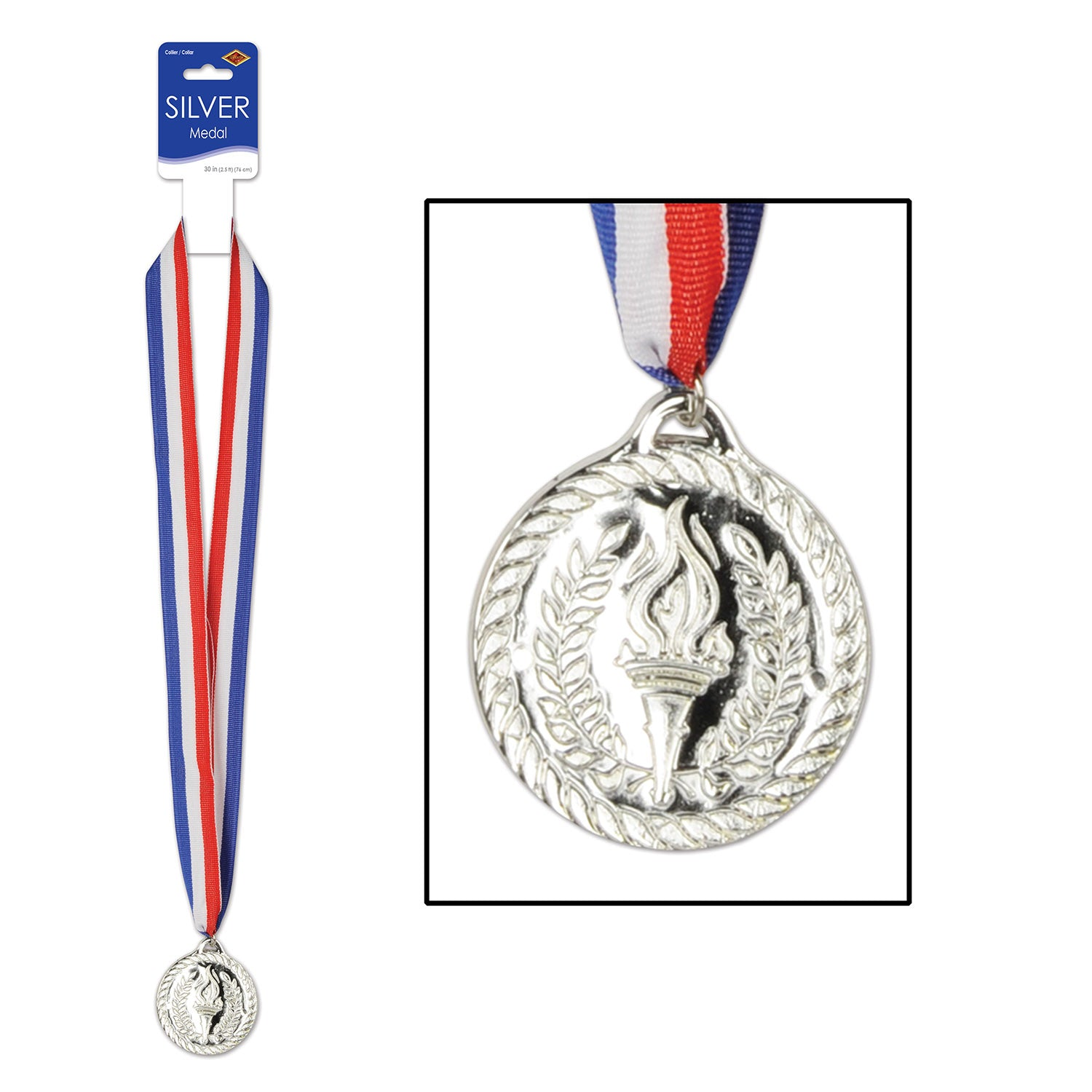 Silver Medal w/Ribbon by Beistle - Sports Theme Decorations