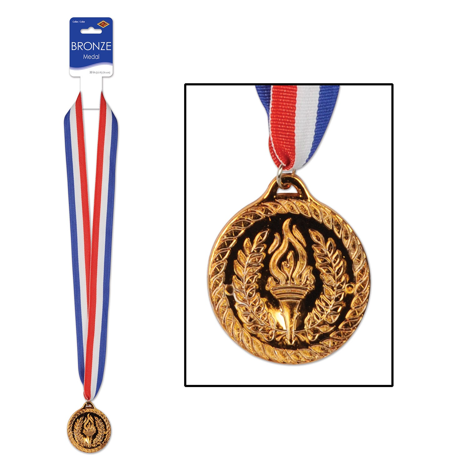 Bronze Medal w/Ribbon by Beistle - Sports Theme Decorations